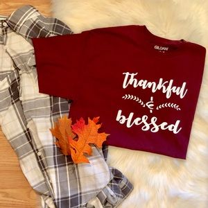 Thankful & Blessed Maroon Tee🍁
